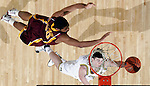 Minnesota forward Ralph Sampson III, left, defends a hook shot from Michigan guard Stu Douglass, bottom, in the second half of an NCAA college basketball game, Thursday, Feb. 19, 2009, in Ann Arbor, Mich. Michigan won 74-62. (AP Photo/Tony Ding)