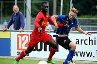 ASSEN - Voetbal, ACV - Magreb 90, derde divisie zaterdag, seizoen 2017-2018, 25-08-2017 ACV speler Pacal Huser in duel mer Renne Donkor