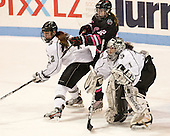Maggie Pendleton (PC - 2), Lucie Povova (NU - 92), Nina Riley (PC - 1) - The Northeastern University Huskies defeated the visiting Providence College Friars 8-7 on Sunday, January 20, 2013, at Matthews Arena in Boston, Massachusetts.