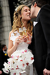 Newly weds champagne toast after their ceremony - .Reid Castle, Manhattanville College.