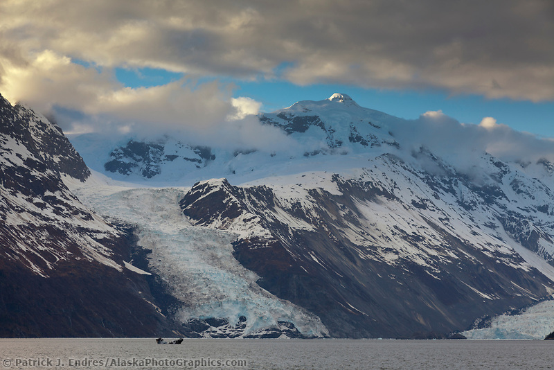 Cascade and Barry glacier flows out of the Chugach mountains in Prince William Sound, Alaska.