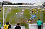 Aberystwyth Town 1 Newtown 2, 17/05/2015. Park Avenue, Europa League Play Off final. Chris Venables scores a penalty past David Jones to equalise for Aberystwyth finished 14 points above Newtown in the Welsh Premier League, but were beaten 1-2 in the Play Off Final. Photo by Paul Thompson.