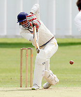 Hammad Ul Hassan bats for Highgate during the Middlesex County League Division Two game between Hornsey and Highgate at Tivoli Road, Crouch End on Saturday Aug 13, 2011