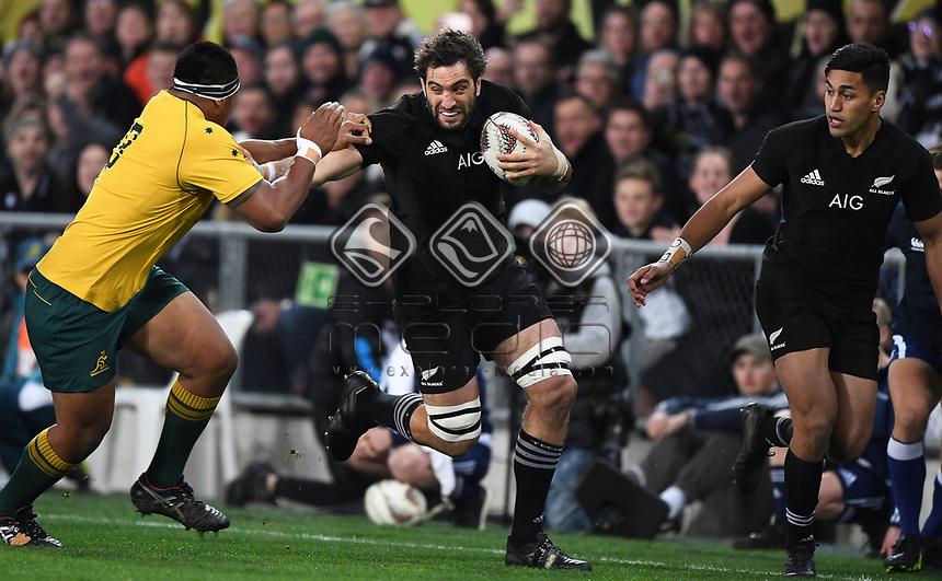 Sam Whitelock.<br /> Bledisloe Cup and Rugby Championship test match. New Zealand All Blacks v Australian Wallabies at Forsyth Barr Stadium, Dunedin, New Zealand. Saturday 26 August 2017. © Copyright photo: Andrew Cornaga / www.Photosport.nz