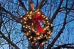 Christmas Wreath with Red Bow lit hanging from Tree