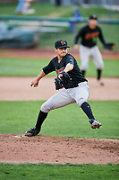 Fernando Gallegos (12) of the Great Falls Voyagers delivers a pitch to the plate against the Ogden Raptors at Lindquist Field on September 14, 2017 in Ogden, Utah. The Raptors defeated the Voyagers 7-4 in Game One of the Pioneer League Championship. (Stephen Smith/Four Seam Images)