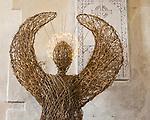 Wicker figure illuminated halo church of Saint Peter Ad Vincula, Broad Hinton, Wiltshire, England, UK