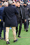 Atletico de Madrid Diego Pablo Simeone and UD Las Palmas Quique Setien during La Liga match between Atletico de Madrid and UD Las Palmas at Vicente Calderon Stadium in Madrid, Spain. December 17, 2016. (ALTERPHOTOS/BorjaB.Hojas)