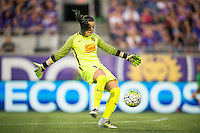Orlando, Florida - Sunday, May 14, 2016: Western New York Flash goalkeeper Sabrina D'Angelo (1) clears the ball during a National Women's Soccer League match between Orlando Pride and New York Flash at Camping World Stadium.