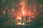 Stockholm 2015-08-24 Fotboll Allsvenskan Djurg&aring;rdens IF - Hammarby IF :  <br /> Djurg&aring;rdens supportrar med en bengal och en banderoll med texten &quot; Hata Bajen &quot; under matchen mellan Djurg&aring;rdens IF och Hammarby IF <br /> (Foto: Kenta J&ouml;nsson) Nyckelord:  Fotboll Allsvenskan Djurg&aring;rden DIF Tele2 Arena Hammarby HIF Bajen supporter fans publik supporters bengal bengaler