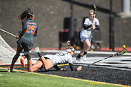 Towson, MD - March 5, 2017: Florida Gators Aniya Flanagan (25) knocks down Towson Tigers Emily Gillingham (45) during game between Towson and Florida at  Minnegan Field at Johnny Unitas Stadium  in Towson, MD. March 5, 2017.  (Photo by Elliott Brown/Media Images International)