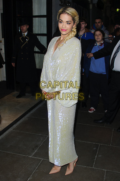Rita Ora.Brits 2013 Nominations Party - Outside Arrivals, London, United Kingdom,.10th January 2013..full length white long maxi dress sequined sequin shiny pointed beige nude shoes  kimono sleeve side plait hair braid fishtail .CAP/CJ.©Chris Joseph/Capital Pictures.