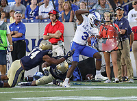 Annapolis, MD - October 7, 2017: Air Force Falcons wide receiver Ronald Cleveland (3) gets pushed out of bounds during the game between Air Force and Navy at  Navy-Marine Corps Memorial Stadium in Annapolis, MD.   (Photo by Elliott Brown/Media Images International)