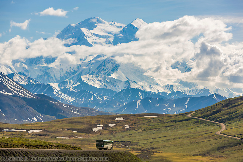 Tourists view the summit of Denali in Denali National Park, Interior, Alaska.