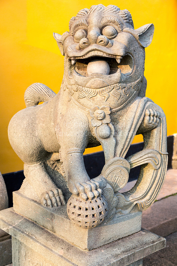 Wenzhou, China.  Guardian Lion (Shi, or Foo Dog) at the Jiangxin Buddhist Temple.