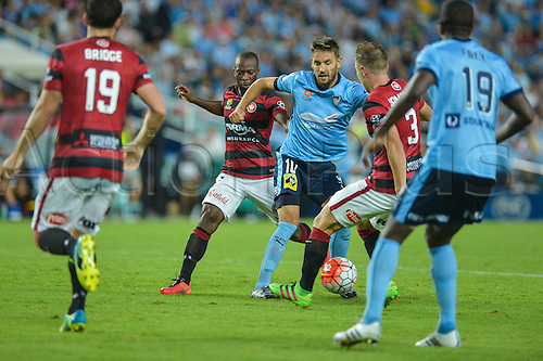 20.02.2016. Allianz Stadium, Sydney, Australia. Hyundai A-League. Sydney FC versus Western Sydney Wanderers. Sydney midfielder Milos Ninkovic in action. The game ended in a 1-1 draw.