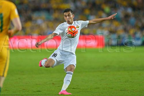 29.03.2016. Allianz Stadium, Sydney, Australia. Football 2018 World Cup Qualification match Australia versus Jordan.  Jordan midfielder Ahmed Samir gets his shot away. Australia won 5-1.