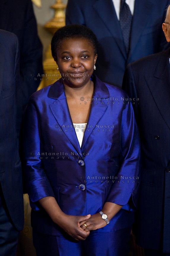 Cecile Kyenge, ministro Integrazione  durante la cerimonia del giuramento del nuovo Governo Letta nel Salone delle Feste del Quirinale.