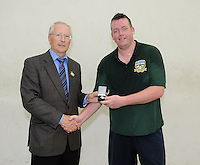 20th September 2014; <br /> GAA President Willie Roche presents Conor O'Connor with the silver medal.<br /> M Donnelly All-Ireland Mens Over-35 60x30 Handball Singes Final<br /> Dale Cusack (Cork) v Conor O'Connor (Meath)<br /> Abbeylara, Co Longford<br /> Picture credit: Tommy Grealy/actionshots.ie