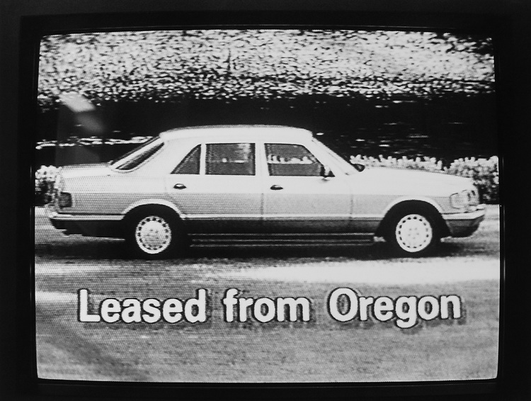 Car leased from Oregon for Congress campaigning broadcasted on television, on June 4, 1990. (Photo by Laura Patterson/CQ Roll Call via Getty Images)