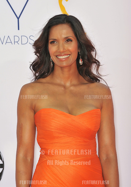 Padma Lakshmi at the 64th Primetime Emmy Awards at the Nokia Theatre LA Live..September 23, 2012  Los Angeles, CA.Picture: Paul Smith / Featureflash