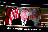 Donald Trump, the nominee of the GOP for President of the United States, makes remarks by video monitor at the 2016 Republican National Convention held at the Quicken Loans Arena in Cleveland, Ohio on Tuesday, July 19, 2016.<br /> Credit: Ron Sachs / CNP<br /> (RESTRICTION: NO New York or New Jersey Newspapers or newspapers within a 75 mile radius of New York City)