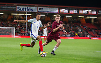 Trent Alexander-Arnold (Liverpool) of England U21 & Janis Grinbergs (Schalke 04 Gelsenkirchen II) of Latvia U21 during the UEFA EURO U-21 First qualifying round International match between England 21 and Latvia U21 at the Goldsands Stadium, Bournemouth, England on 5 September 2017. Photo by Andy Rowland.