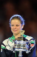MELBOURNE, 29 JANUARY - Kim Clijsters (BEL) accepts the women's singles trophy on day thirteen of the 2011 Australian Open at Melbourne Park, Australia. (Photo Sydney Low / syd-low.com)