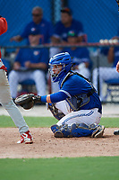 GCL Blue Jays catcher Francisco Ruiz (9) waits to receive a pitch pitch in front of home plate umpire Tre Jester as GCL Phillies West third baseman Jesus Azuaje (2) bats during a game on August 7, 2018 at Bobby Mattick Complex in Dunedin, Florida.  GCL Blue Jays defeated GCL Phillies West 11-5.  (Mike Janes/Four Seam Images)