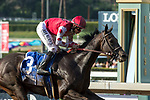 ARCADIA, CA  APRIL 7: #3 Midnight Bisou, ridden by Mike Smith, wins the Santa Anita Oaks (Grade l) on April 7, 2018, at Santa Anita Park in Arcadia, Ca. (Photo by Casey Phillips/ Eclipse Sportswire/ Getty Images)