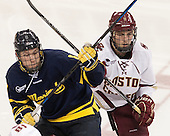 Brian Christie (Merrimack - 8), Chris Calnan (BC - 11) - The Boston College Eagles defeated the visiting Merrimack College Warriors 2-1 on Wednesday, January 21, 2015, at Kelley Rink in Conte Forum in Chestnut Hill, Massachusetts.