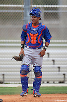 New York Mets catcher Alex Machillanda #60 during an extended Spring Training game against the Miami Marlins at the Roger Deam Complex on May 1, 2012 in Jupiter, Florida.  (Mike Janes/Four Seam Images)