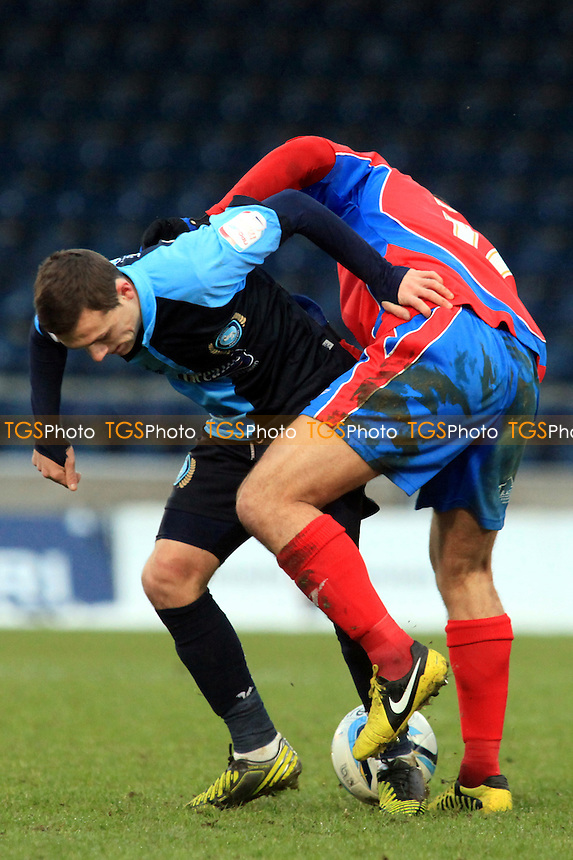 Wycombe's Josh Scowen tries to regain possession of the ball - Wycombe Wanderers vs Dagenham & Redbridge - NPower League Two Football at Adams Park, High Wycombe - 19/01/13 - MANDATORY CREDIT: Paul Dennis/TGSPHOTO - Self billing applies where appropriate - 0845 094 6026 - contact@tgsphoto.co.uk - NO UNPAID USE.
