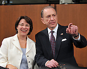 Washington, DC - July 13, 2009 -- United States Senator Arlen Specter (Democrat of Pennsylvania), right, points out something to U.S. Senator Amy Klobuchar (Democrat of Minnesota), left, during a break as the U.S. Senate Judiciary Committee considers the nomination of Judge Sonia Sotomayor as Associate Justice of the U.S. Supreme Court on Monday, July 13, 2009..Credit: Ron Sachs / CNP