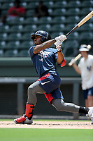 """Braves minor leaguer Justin Dean bats in a """"Sandlot""""-style game concluding a series of workouts with local MLB and MiLB players from around the Upstate region on Thursday June 25, 2020, at Fluor Field at the West End in Greenville, South Carolina. Dean, from Mauldin High School, is the Braves' No. 18 prospect and was a South Atlantic League Post-Season All-Star with the Rome Braves in 2019. (Tom Priddy/Four Seam Images)"""