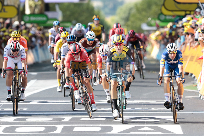 Wout Van Aert (BEL) Team Jumbo-Visma beats Elia Viviani (ITA) Deceuninck-Quick Step followed by Michael Matthews (AUS) Team Sunweb and Caleb Ewan (AUS) Lotto-Soudal in the sprint for the finish line of Stage 10 of the 2019 Tour de France running 217.5km from Saint-Flour to Albi, France. 15th July 2019.<br /> Picture: Colin Flockton | Cyclefile<br /> All photos usage must carry mandatory copyright credit (© Cyclefile | Colin Flockton)