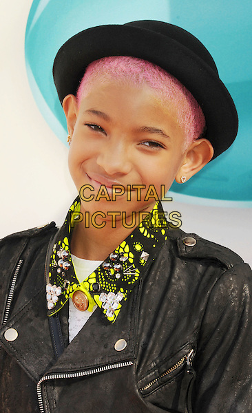 Willow Smith.arriving at the 2012 Nickelodeon Kids' Choice Awards at Galen Center in Los Angeles, California, USA..March 31st, 2012.headshot portrait black leather jacket hat  green print collar  pink hair.CAP/ROT/TM.©Tony Michaels/Roth Stock/Capital Pictures