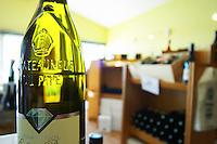 bottle with moulded relief on the neck wine shop le cellier des princes chateauneuf du pape rhone france