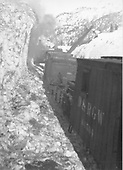 D&amp;RGW ditcher #OX clearing snow in Animas Canyon.  There is an unidentified engine and outfit box car #04505 between the camera and the ditcher.<br /> D&amp;RGW  Animas Canyon, CO