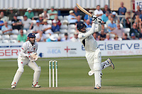 Toby Roland-Jones hits six runs for Middlesex as James Foster looks on from behind the stumps during Essex CCC vs Middlesex CCC, Specsavers County Championship Division 1 Cricket at The Cloudfm County Ground on 26th June 2017