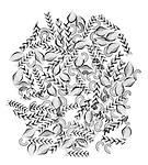 X-ray image of a dried pasta mix (black on white) by Jim Wehtje, specialist in x-ray art and design images.