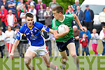 In Action St. Kierans Daniel O'Shea and Mid Kerry's Gavin O'Grady in the Kerry Senior County Football Championship Round 1St. Kierans V Mid Kerry game at Castleisland Desmonds GAA on Saturday