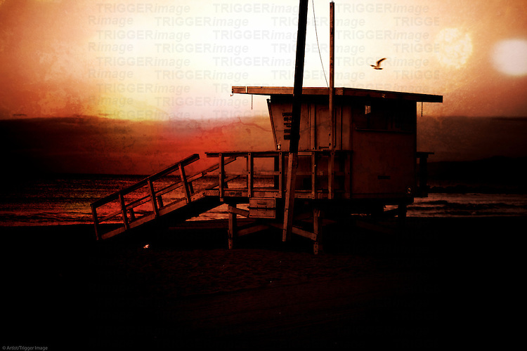 The guardhouse a lifeguard during a sunrise on the beach of Venice Beach.
