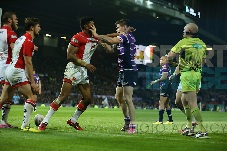 St Helens Sia Soliola and Wigan Warriors John Bateman clash- First Utility Super League Grand Final - St Helens v Wigan Warriors - Old Trafford Stadium - Manchester - England - 11th October 2014 - Pic Paul Currie/Sportimage