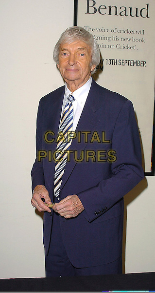 "RICHIE BENAUD.At his new book ""My Spin On Cricket"" signing at Waterstones, Leadenhall Market,.London, 13th September 2005.half length blue navy suit stripe tie author writer .Ref: CAN.www.capitalpictures.com.sales@capitalpictures.com.©Capital Pictures"