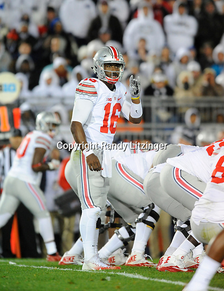 22 October 2016:  Ohio State QB J.T. Barrett (16) calls an audible at the line of scrimmage. The Penn State Nittany Lions upset the #2 ranked Ohio State Buckeyes 24-21 at Beaver Stadium in State College, PA. (Photo by Randy Litzinger/Icon Sportswire)