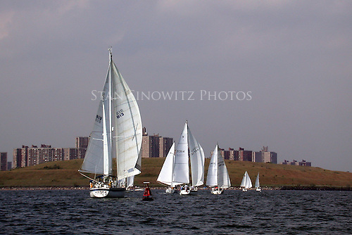 The sailing fleet is racing down wind toward the mark.  The boats are lined up in a race and their is little that can be done to make them go faster in time to change relative positions to each other before they get to the mark. The race was sponsored by Pelham Bay Marina and is in the Bronx, NY waters of Long Island Sound, USA. in 09-24-2002.