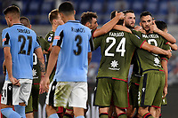 Giovanni Simeone of Cagliari celebrates with team mates after scoring the goal of 0-1 during the Serie A football match between SS Lazio and Cagliari Calcio at Olimpico stadium in Rome ( Italy ), July 23th, 2020. Play resumes behind closed doors following the outbreak of the coronavirus disease. Photo Andrea Staccioli / Insidefoto