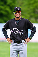 Quad Cities River Bandits shortstop Miguelangel Sierra (4) poses for a photo prior to a Midwest League game against the Beloit Snappers on May 20, 2018 at Pohlman Field in Beloit, Wisconsin. Beloit defeated Quad Cities 3-2. (Brad Krause/Four Seam Images)