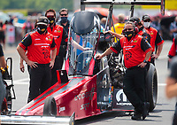 Jul 18, 2020; Clermont, Indiana, USA; Crew members for NHRA top fuel driver Leah Pruett during qualifying for the Summernationals at Lucas Oil Raceway. Mandatory Credit: Mark J. Rebilas-USA TODAY Sports
